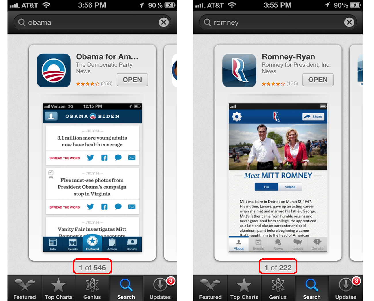 Obama vs romney iphone app comparison shoutem mobile for Picture search app for iphone
