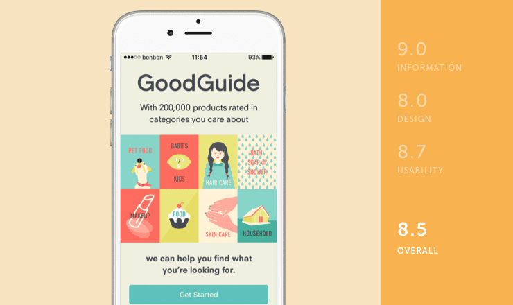 GoodGuide mobile app rated by information, design and usability on behalf of Shoutem team for review of environmental apps