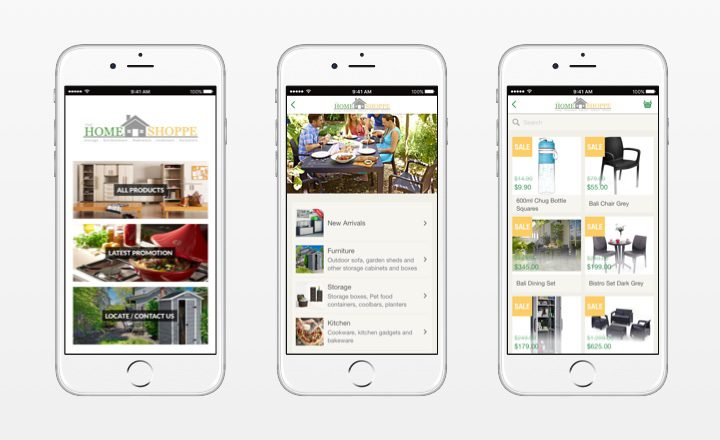 Different screens of Home Shoppe app in on white iPhone 6 mockups