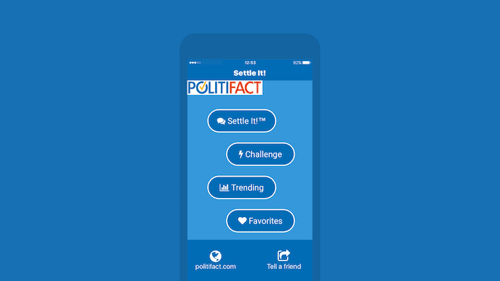 iPhone device running Settle It! app that can help you decide whom to vote for at 2016 presidential election