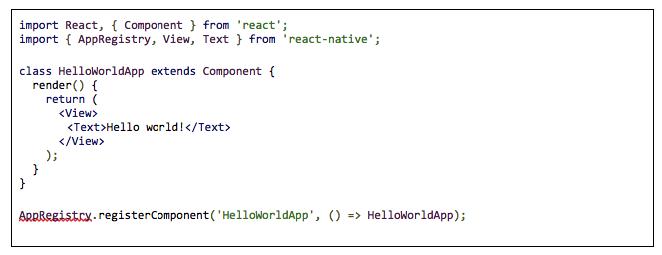 Hello world written in React Native