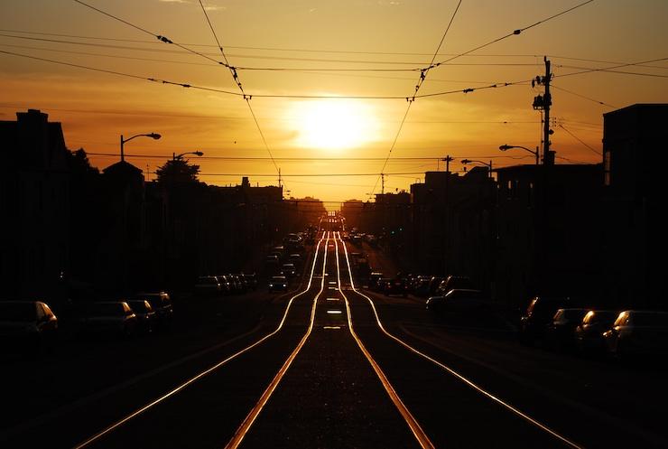 San Francisco traffic jam at sunset