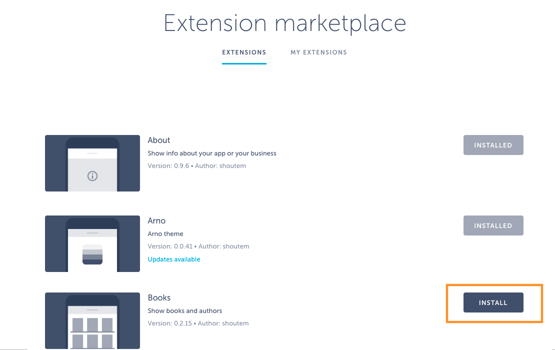 extension marketplace