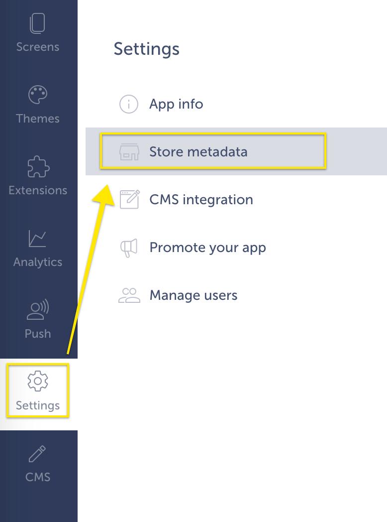 Store metadata