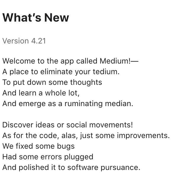 medium app update description