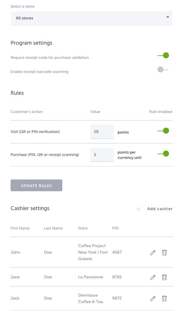 Cashier settings