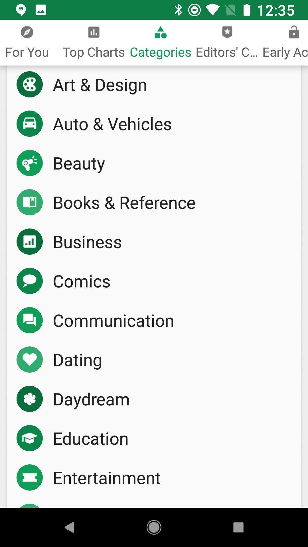 google play categories list