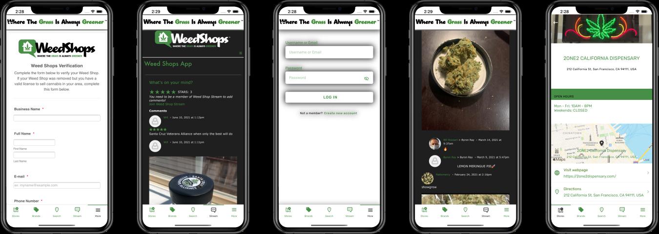 weed shops app screens